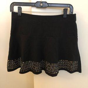 Express studded black skater mini skirt